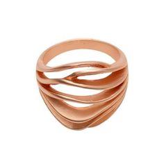 Dansk Smykkekunst - matter Ring   Mix & Match   Rosegold mit Wellenform