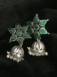 Emerald Flower Pearl Silver Jhumkies