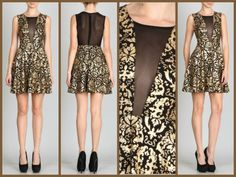 Cinnaryn Gold Foil Mesh Brocade Blair Dress $49