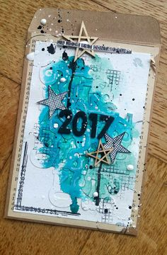 Carte de bonne année en scrap patouille encre tampons Trash , enveloppe kraft , bleu embellissements bois graffiti girl
