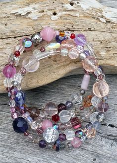 Pink and Purple Memory Wire Bracelet, Beaded Jewelry