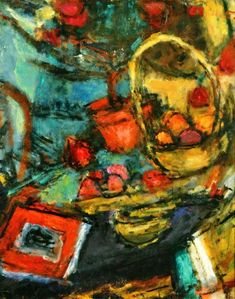 Czóbel, Béla Still-life with yellow Basket, 1960 Still Life, Basket, Yellow, Paintings, Artists, Fall Living Room, Exhibitions, Big Cats, Paint
