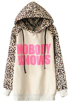 Light Grey NOBODY KNOWS Print Hooded Leopard Sweatshirt 17.33
