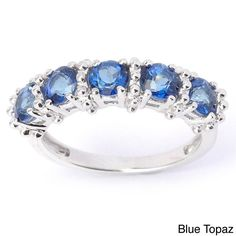 Sterling Silver Five-stone Topaz High Polished Ring
