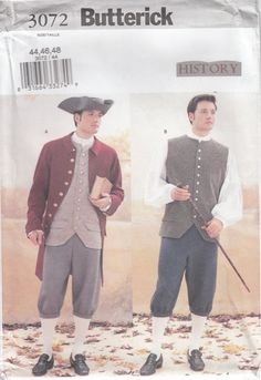 """Butterick 3072 Mens Revolutionary War Colonial by CedarSewing Butterick Sewing Pattern Number 3072 """"Making History Pattern"""" Men's Revolutionary War Costume #Revolution, #Revolutionary War, #Colonial, #18th Century, #1700s, #tricorn hat, #weskit, #frock coat, #breeches"""