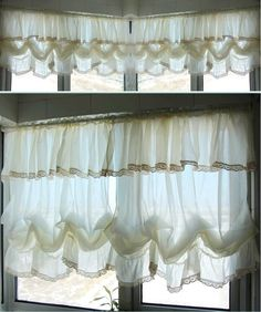 Shabby Chic Hem Lace and Flounce and Fixed Valance Creamy White Balloon Curtains, French Pinch Pleat Drapes, Drapery Curtains by qfunvalue on Etsy https://www.etsy.com/listing/181819303/shabby-chic-hem-lace-and-flounce-and