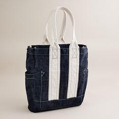 Raw denim bag from J. Crew...