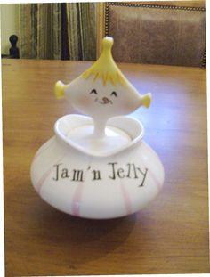 "50's Holt Howard "" Jam 'n Jelly"" Pixieware Jar"