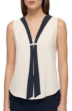 Tommy Hilfiger Sleeveless Top with Necktie