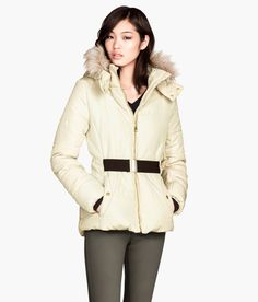 White padded jacket with lined hood and detachable faux-fur trim. #WARMINHM