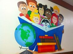 I was visiting one of our elementary libraries last week where I saw a sketch of a mural that was . Library Themes, Library Wall, Class Decoration, School Decorations, School Murals, Art School, Mural Art, Wall Murals, Creative Wall Painting