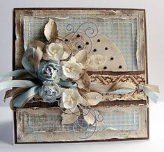 Chocolate brown and blue deliciousness by Dorota. Love this fabulous card.