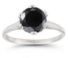 Vintage Vine Black Diamond Ring in White Gold Black Diamond, Diamond Rings, Gold Rosary, Catholic Jewelry, Christian Jewelry, Gold Cross, Black Rings, Cross Pendant, Vines