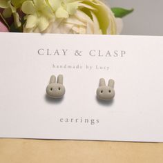 Grey Bunny Earrings