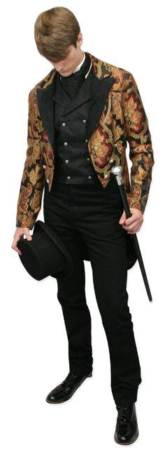 Wedding Mens Gold,Black Print Peak Collar Tail Coat | Formal | Bridal | Prom | Tuxedo || Vienna Brocade Tailcoat - Velvet Trim