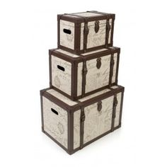 Set of 3 Parisienne Luggage Storage Boxes Wood & Upholstery