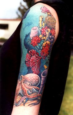 [[]] i want an ocean scene on my left leg, with the colorful coral reef beginning around my ankle/foot top and about halfway up my shin [[]]