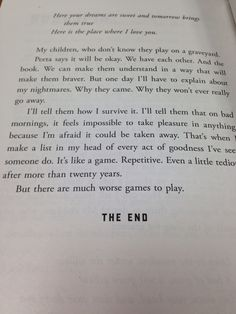 The end page brings tears because I know all of my favorite characters are dead.