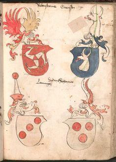 Wernigeroder (Schaffhausensches) Wappenbuch Süddeutschland, 4. Viertel 15. Jh. Cod.icon. 308 n  Folio 190r