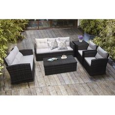 Sol 72 Outdoor™ Merlyn 11 Piece Sectional Seating Group with Cushions | Wayfair Resin Patio Furniture, Backyard Furniture, Outdoor Furniture Sets, Backyard Patio, Porch Furniture, Deck Furniture Layout, Conservatory Furniture, Patio Layout, Outdoor Sofa Sets