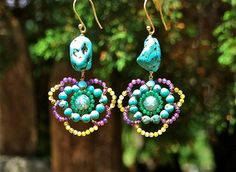 Cyclameno Earrings. A unique, handcrafted piece made with real turquoise and fine stones, and gold-plated 925 silver. Boho Greek Collection.
