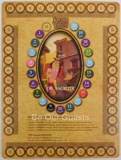 Disney Sorcerers of the Magic Kingdom Game Board Dr. Facilier and Tokens New
