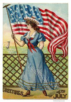 Antique Post Card Ephemera George Washington Veteran-Militaria- 4th of July Memorial Patriotic Americana Flag