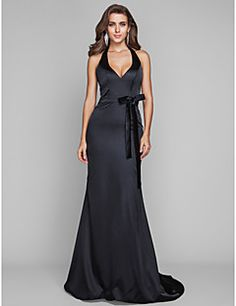 TS+Couture®+Formal+Evening+/+Military+Ball+Dress+-+Open+Back+Plus+Size+/+Petite+Sheath+/+Column+Halter+Sweep+/+Brush+Train+Stretch+Satin+with+Bow(s)+–+USD+$+200.00