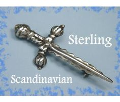 Sterling Silver ~ Scandinavian Medieval Sword Brooch Pin ~FREE SHIPPING & ON SALE $59