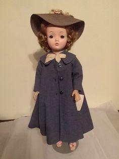 """1956 Madame Alexander 21"""" Cissy Doll in BLUE Coat, Lavender Skirt & White Blouse"""