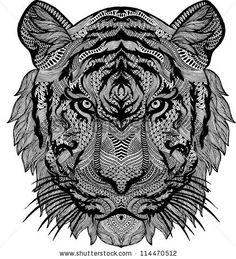 Psychedelic Tiger Isolated Ilustração Vetor Stock 114470512 : Shutterstock