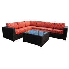 Teva Furniture Santa Monica Sectional Seating Group with Cushions Fabric: Crimson