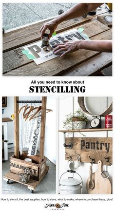 How to stencil featuring a pallet wood crate is part of Diy wood signs - Stencilling is fun and easy! But there are tricks if you wish for an exceptional outcome Here's how to stencil featuring a pallet wood crate Diy Wood Projects, Fun Projects, Woodworking Projects, Reclaimed Wood Projects Signs, Stencil Wood, Stencil Diy, Sign Stencils, How To Make Stencils, Stencil Painting