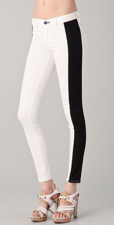 Rag & Bone/JEAN Split Skinny Jeans - I like this twist on a tuxedo stripe and the two-tone cut should make legs look longer and skinnier.