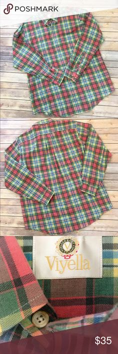 VIYELLA Large Plaid Shirt Cotton Wool Blend Excellent condition  Smoke free home 🏡  Measurements in pictures  80% cotton 20% wool Viyella Shirts Casual Button Down Shirts