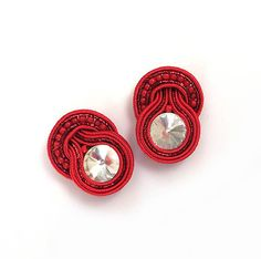 Christmas gift for her small red earrings soutache by sutaszula