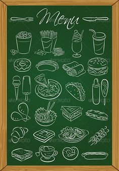 Food Menu Vector illustration of food icons drawn on green chalkboard Created: 29 November 13 Graphics Files Included: JPG Image EPS Illustrator Layered: Yes Minimum Adobe CS Version: CS Tags Chicken Leg Out Food dog food fries dog cream sandwich Kitchen Chalkboard, Chalkboard Print, Chalkboard Designs, Menu Board Design, Cafe Menu Design, Chalk Menu, Food Menu Template, Chalk Lettering, Menu Boards