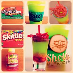 Shot con Frözt, chamoy, Skwinkles y Skittles.