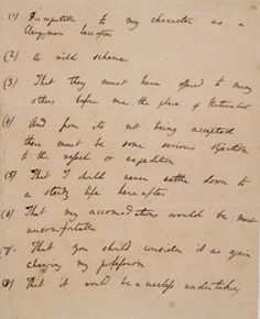Darwin's list of his father's objections to the Beagle voyage.