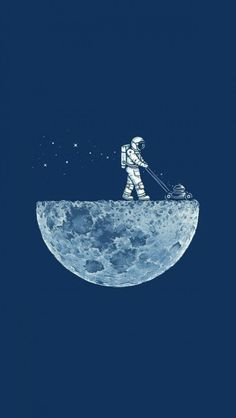 Astronaut & Half moon wallpaper for iPhone @mobile9
