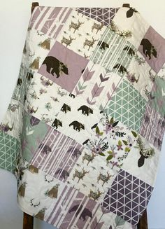 Lavender Baby Quilt Lavender Nursery Woodland Crib by CoolSpool