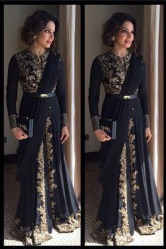 """Bipasha Basu in Sabyasachi Indian couture"" Dress Indian Style, Indian Fashion Dresses, Indian Gowns, Indian Designer Outfits, Indian Attire, Asian Fashion, Black Indian Gown, Fashion Black, Ethnic Fashion"