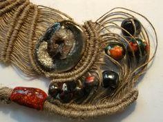 Handmade macrame and ceramic cabuchon  and ceramic by fripperyart