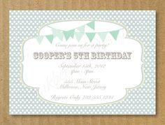 Custom Birthday Invitation, Bunting Banner Birthday