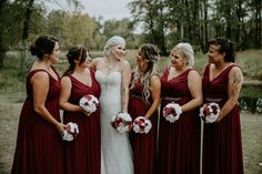 To see more of this fall wedding visit Teller of Tales Photography. Red Fall Weddings, Fall Wedding Colors, Party Photos, Wedding Photos, Wedding Ideas, Wedding Songs, Wedding Couples, Groomsmen Suits, Bridesmaid Dresses