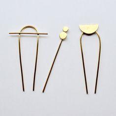 HORIZON Brass Hair Pin // Bun Pin by MaterialWit on Etsy https://www.etsy.com/listing/288548241/horizon-brass-hair-pin-bun-pin