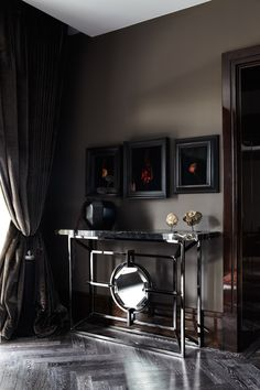 Awesome Luxury London Penthouse Designs : Awesome Luxury London Penthouse Designs With Dark Wall And Big Curtain And Modern Table Design Luxury Homes Interior, Interior Architecture, Interior And Exterior, Luxury Decor, Interior Design Inspiration, Home Decor Inspiration, Home Design, Interior Styling, Interior Decorating