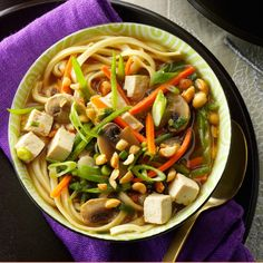 Asian Tofu Noodle Soup Recipe -Ginger, garlic and sherry jazz up this soup loaded with veggies and noodles. We like to accent ours with peanuts and green onions. Quick Tomato Soup, Quick And Easy Soup, Tofu Noodles, Tofu Ramen, Asian Recipes, Ethnic Recipes, Oriental Recipes, Asian Soup, Easy Soup Recipes