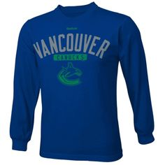 Reebok Vancouver Canucks Youth Acquisition Long Sleeve T-Shirt - Navy Blue