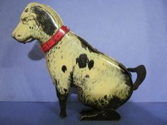 "Tin Lithograph Gravity  8""  Sitting/Begging Dog Toy 1925"